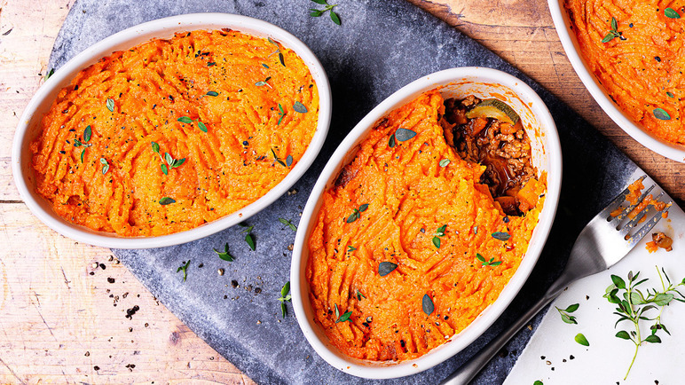 Image: Baharat spiced lamb and butternut shepherd's pie