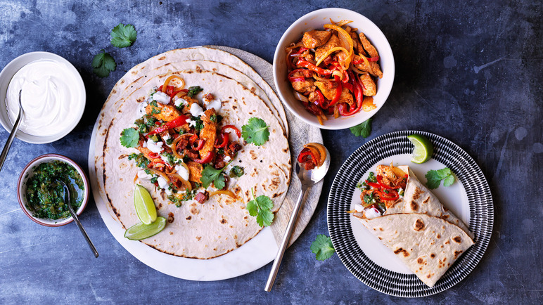 Image: Chicken and chorizo fajitas with coriander salsa