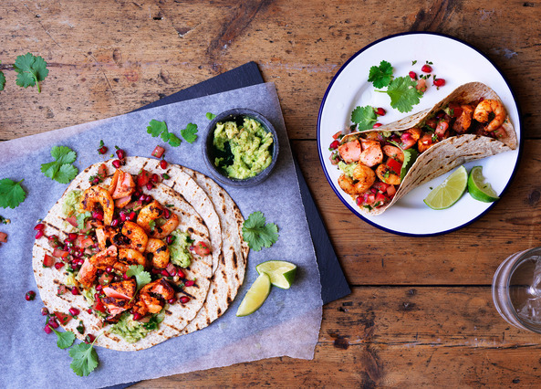 Image: Salmon and prawn tacos with tomato salsa and smashed avocado