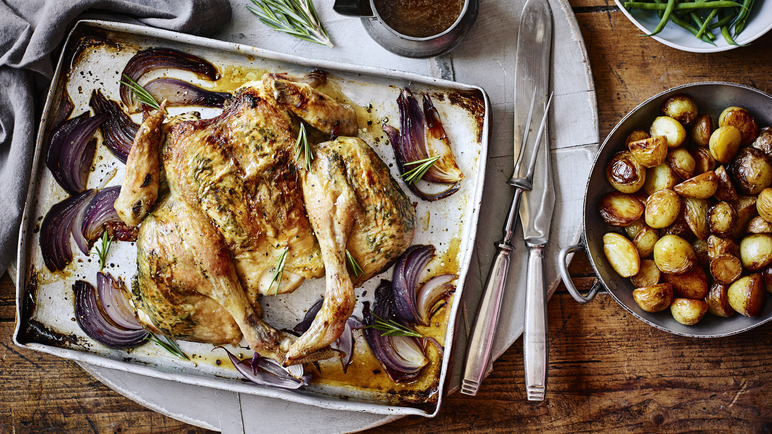 Image: Top shelf chicken with pan potatoes