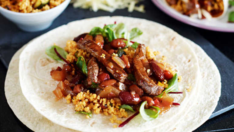Mexican steak & bean burrit image