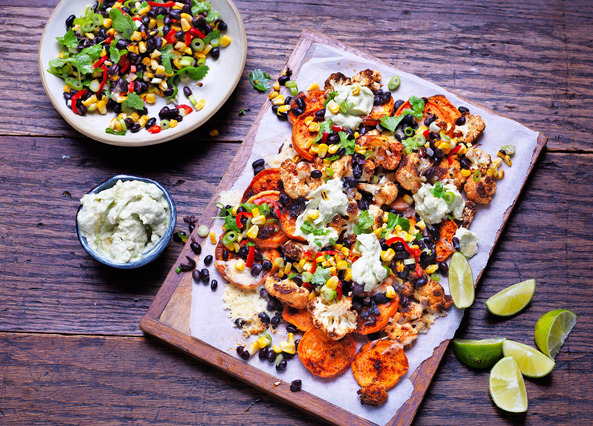 Image: Sweet potato and cauliflower nachos with chargrilled corn salsa