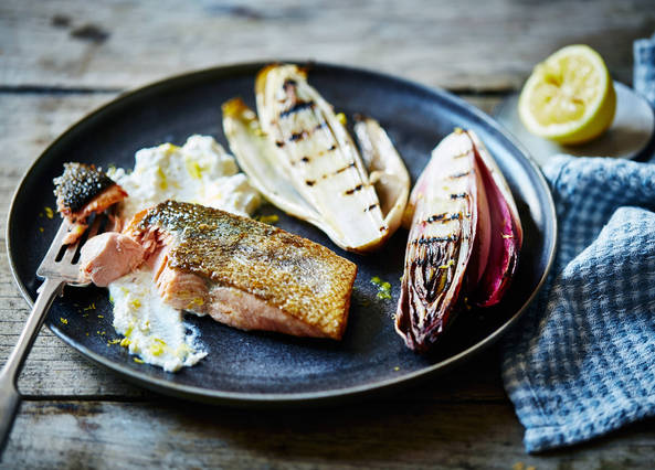 Image: Roast salmon with lemon ricotta and warm chargrilled chicory salad