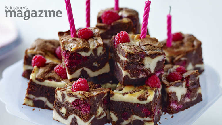 Raspberry and white chocolate celebration brownies