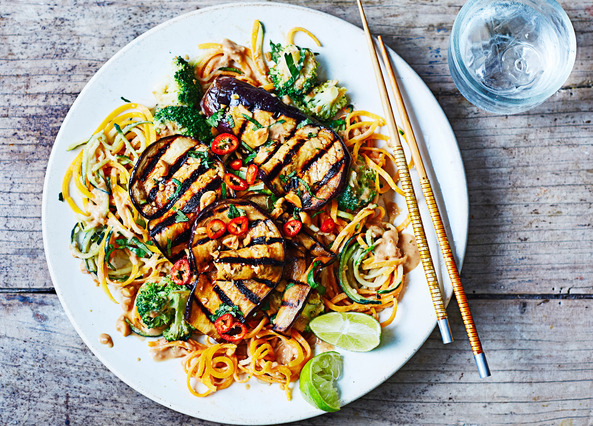 Image: Peanut satay vegetable noodles and broccoli with satay sauce and grilled aubergine