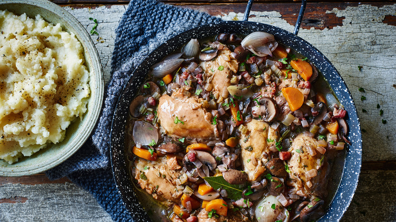 recipe lighter coq au vin with celeriac mash sainsbury 39 s. Black Bedroom Furniture Sets. Home Design Ideas