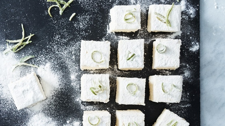 Image: Gin and tonic marshmallows with candied cucumber
