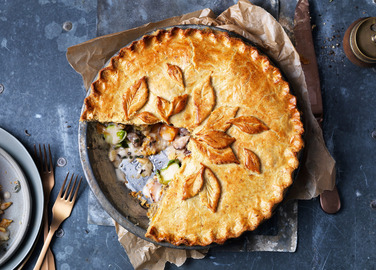 Image: Vegan butternut, brussel sprout and chestnut pie