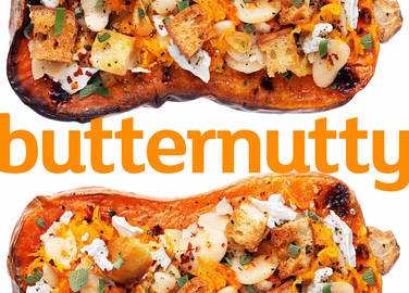 Image: Roasted butternut with spiced butterbean and goat's cheese mash