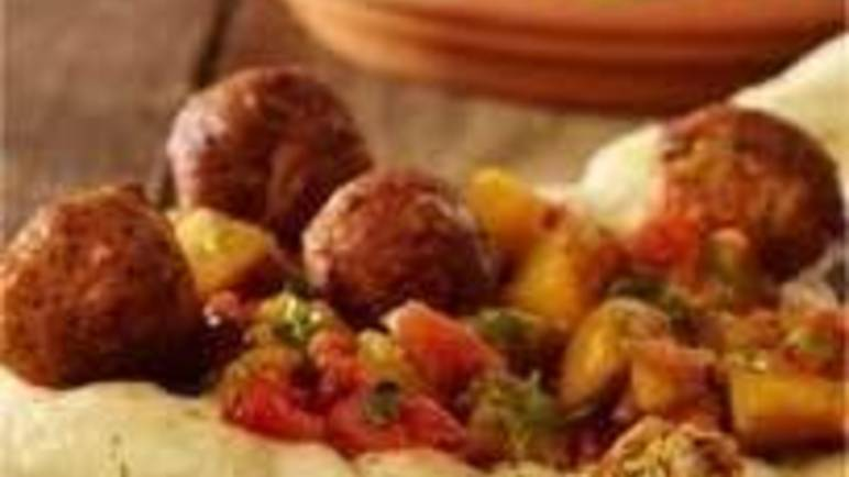 Large image for Cauldron Falafels with aubergine and tomato salad recipe.