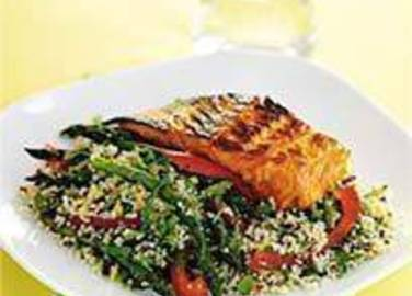 Large image for Sainsbury's Little Ones soy and honey salmon with cous cous salad recipe