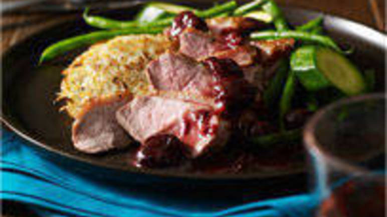 Large image for Sainsbury's Duck with cherry sauce and rosti potatoes recipe