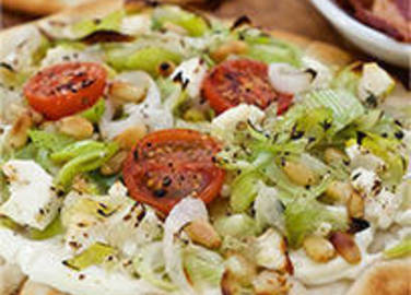 Large image for Leek, Feta and Tomato Flatbreads recipe