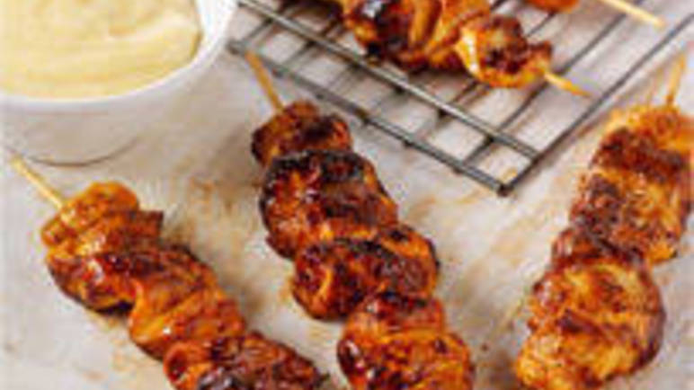 Large image for chicken kebabs with fresh aioli recipe.