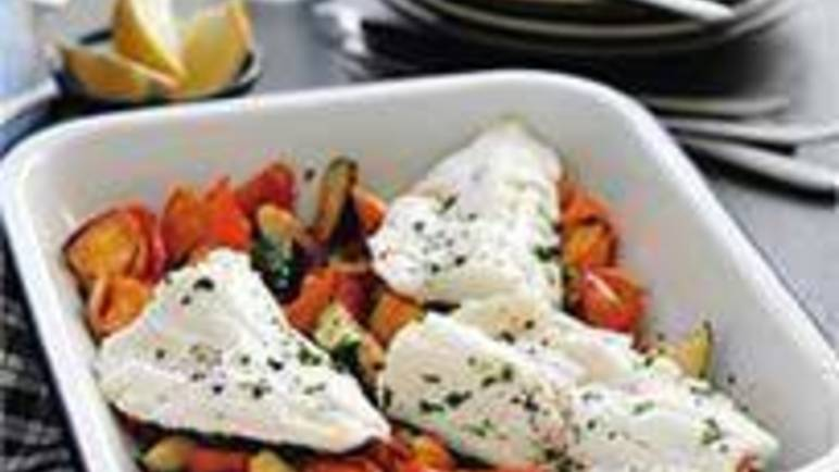 Large image for Sainsbury's Roasted haddock with sweet potato, pepper and courgette recipe