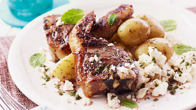 Lamb chops with fresh mint sauc image