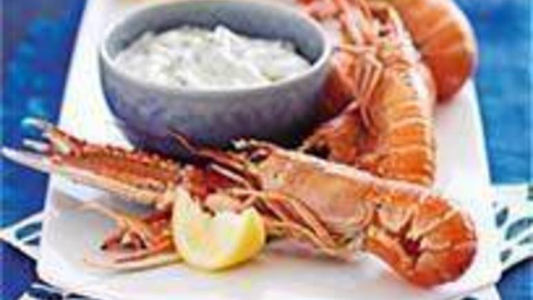 Large image for Sainsbury's Grilled langoustines with lemon and parsley mayonnaise recipe