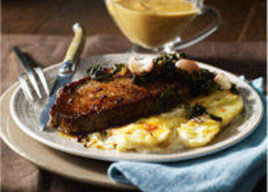 Large image for Sainsbury's Pan-fried steak with crispy kale and Diane sauce recipe