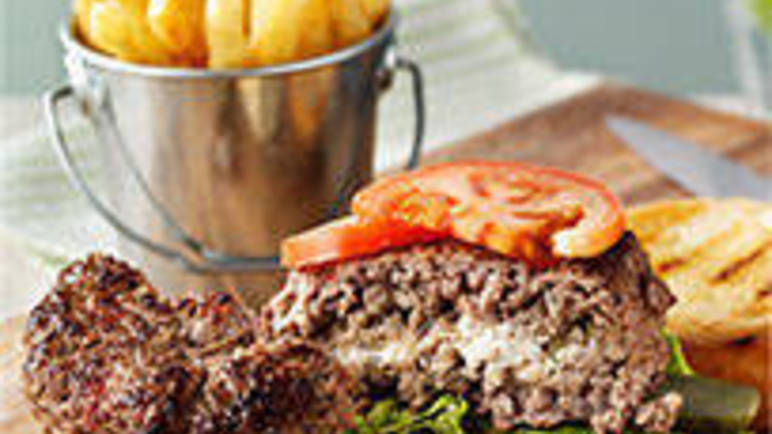 Large recipe image for Beef and mushroom burgers with a Boursin centre recipe on Sainsbury's Online
