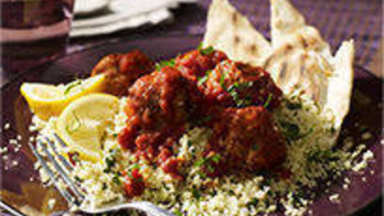 Large image for Sainsbury's Moroccan chicken meatballs with minty cous cous recipe