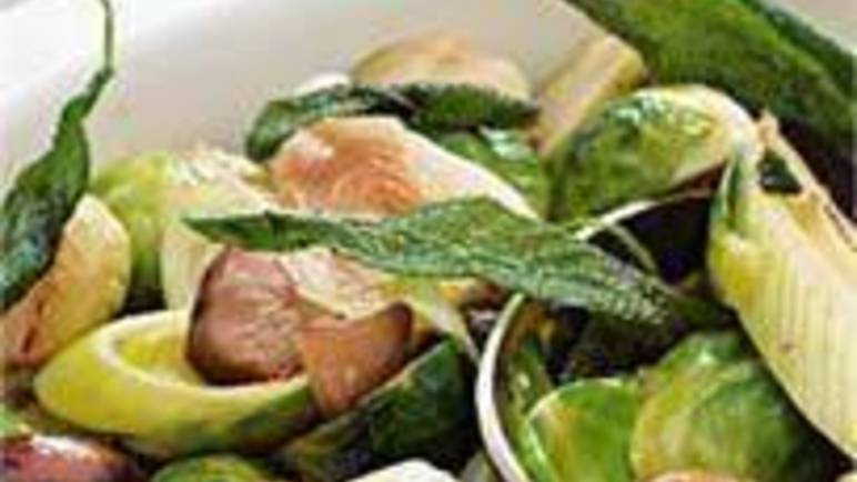 Large image for Sainsbury's Pan-fried leeks with sprouts, whole chestnuts and sage recipe