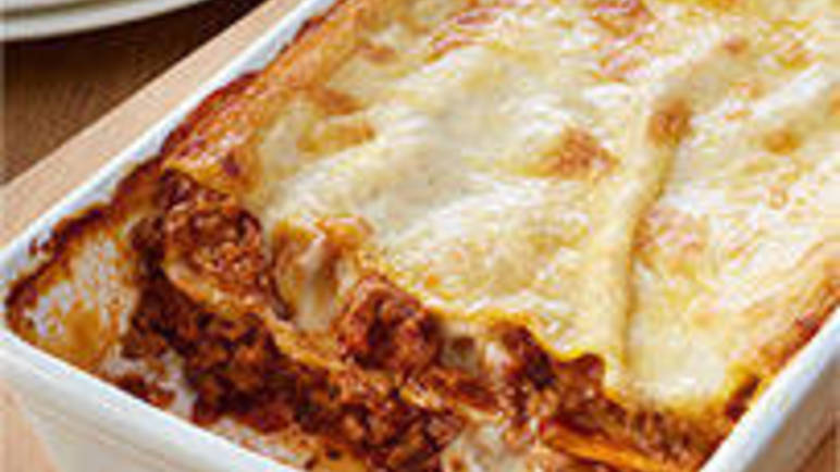 Large recipe image for Loyd Grossman beef lasagne recipe on Sainsbury's Online