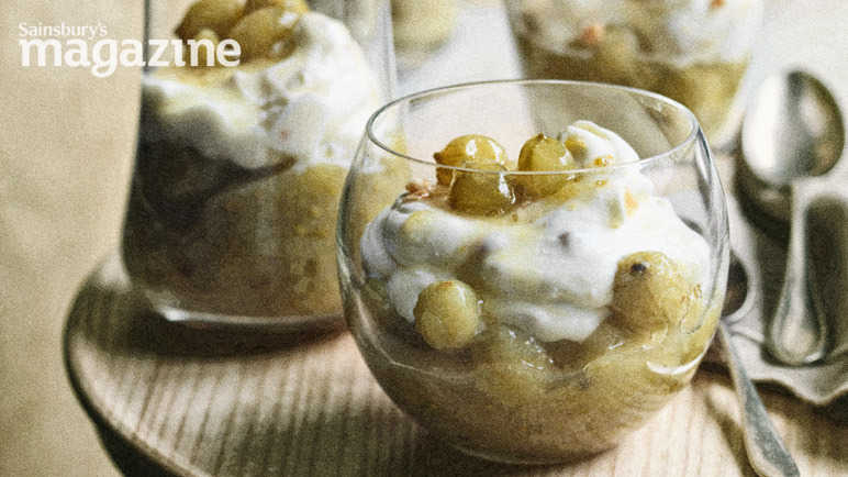 Gooseberry compote with almond mascarpone