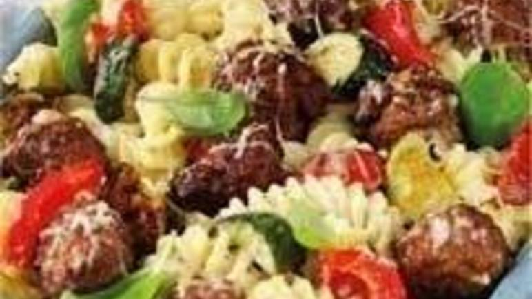 Large image for meatball and roasted vegetable pasta bake recipe.