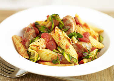 Sausage and courgette past image