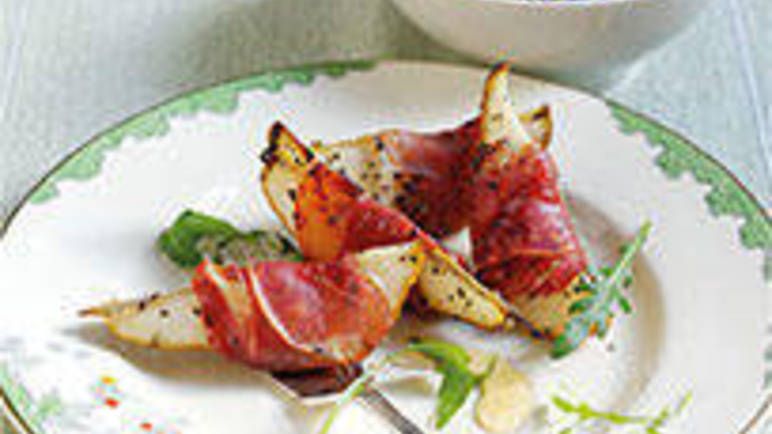 Large image for Prosciutto-wrapped pears with maple syrup recipe on Sainsbury's Online