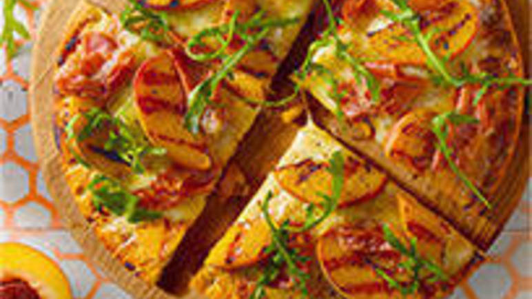 Large image for Parma ham and rocket pizza recipe with a grilled peach twist recipe