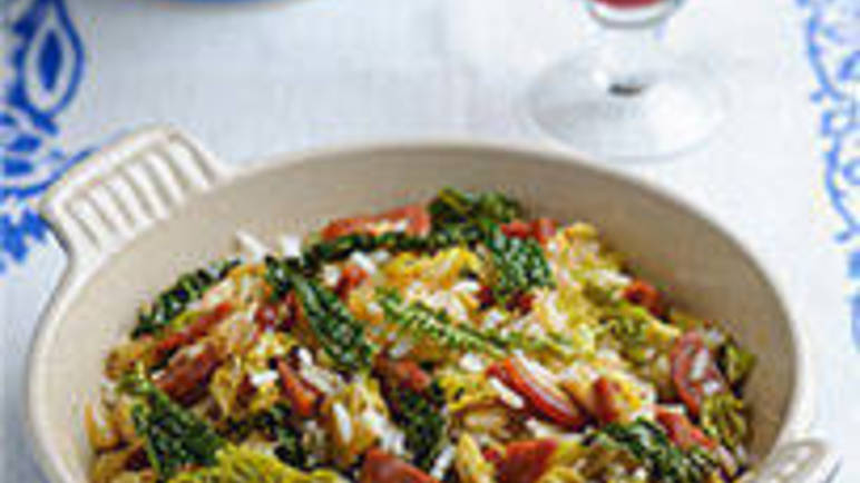 Large image for Savoy cabbage with chorizo, shallots and rice recipe on Sainsbury's Online