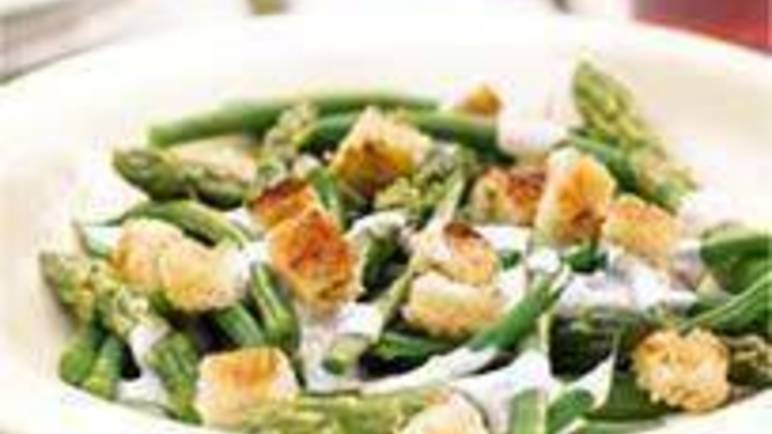 Large image for Sainsbury's Asparagus and green bean Caesar-style salad recipe