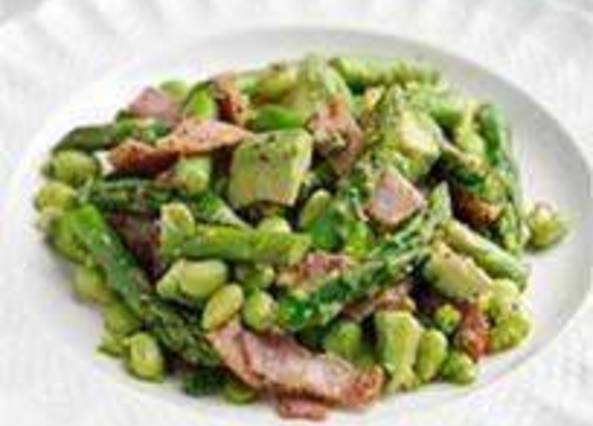 Large image for Sainsbury's Asparagus, avocado, bacon and soya bean salad recipe