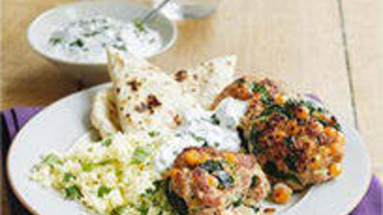 Large image for Sainsbury's Harissa turkey burgers with yogurt and mint recipe