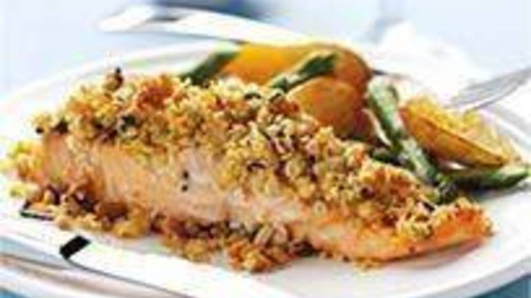 Large image for Sainsbury's Lemon-crusted salmon with roasted new potatoes recipe
