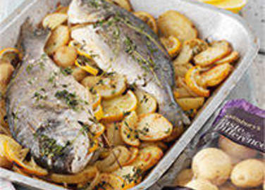 Large image for Bakes whole fish and British Gems potatoes recipe on Sainsbury's Online