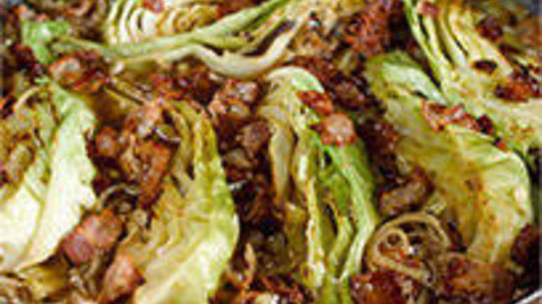Large image for Cabbage braised with shallots and pancetta recipe on Sainsbury's Online
