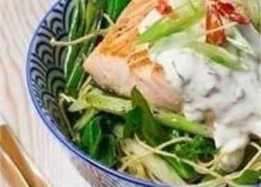 Large image for peppered salmon with chilli yogurt dressing recipe.