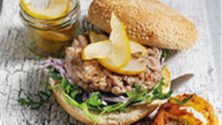 Large image for Pork burgers with South African apple relish recipe on Sainsbury's Online