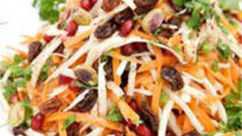 Large image for Spiced parsnip and carrot salad with pomegranate recipe on Sainsbury's Online