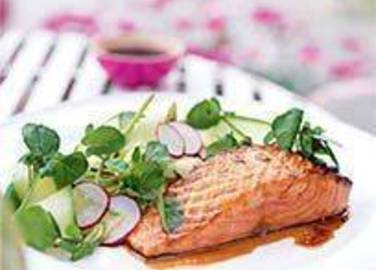 Large image for Sainsbury's Oriental glazed salmon with cucumber, radish and watercress salad recipe