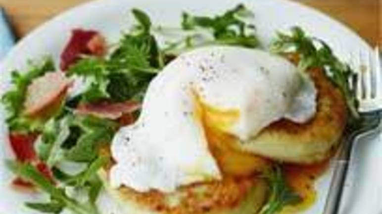 Large image for Jo Pratt's champ cakes with poached egg and bacon.