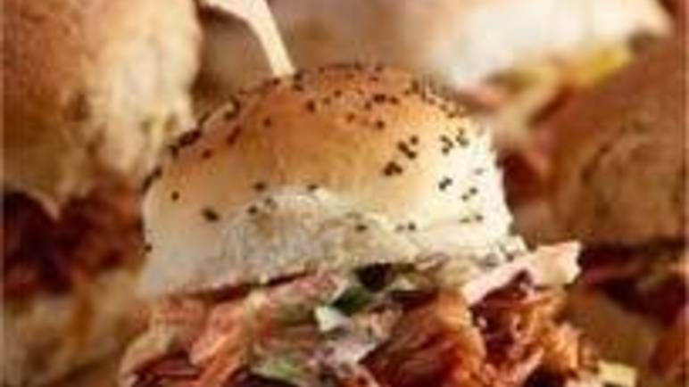 Large image for smokey barbecue pulled pork sliders recipe.
