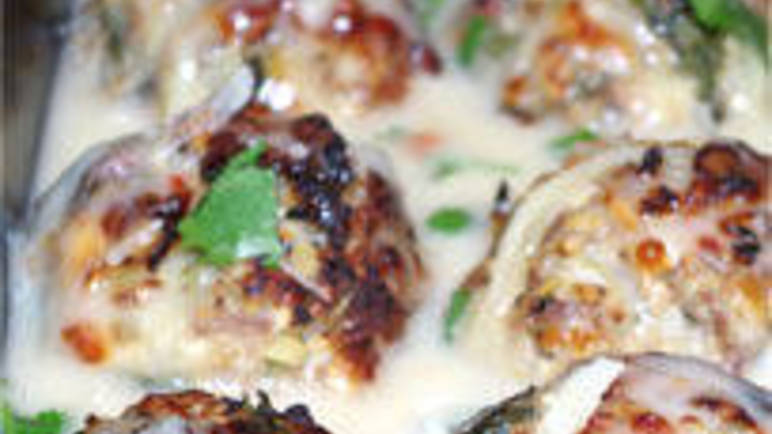 Large image for cheesy turkey meatballs with cheesy cider sauce recipe.