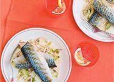 Large image for Sainsbury's Griddled mackerel with fennel and cucumber coleslaw recipe