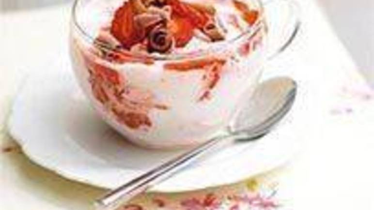 Large image for Sainsbury's Strawberry marble mousse recipe
