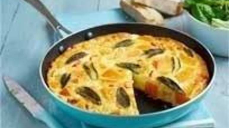 Large image for Butternut squash and feta frittata recipe on Sainsbury's Online
