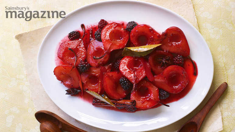 Roast pears with star anise, blackberries and lemon