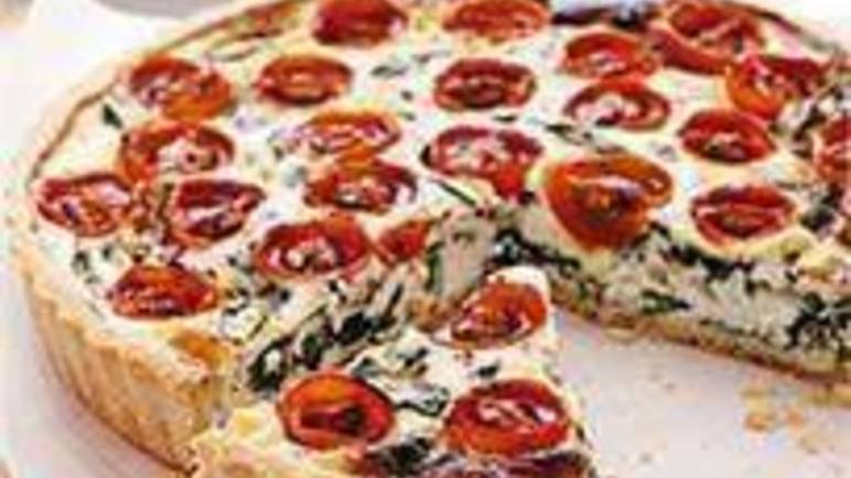 Large image for Sainsbury's Cherry tomato, spinach and ricotta tart recipe
